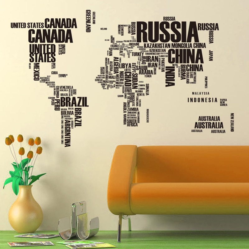 Letras originales grandes mapa del mundo 190*116 cm pegatina de pared para niños aprendizaje palabras artísticas vinilo pegatinas decoración del hogar