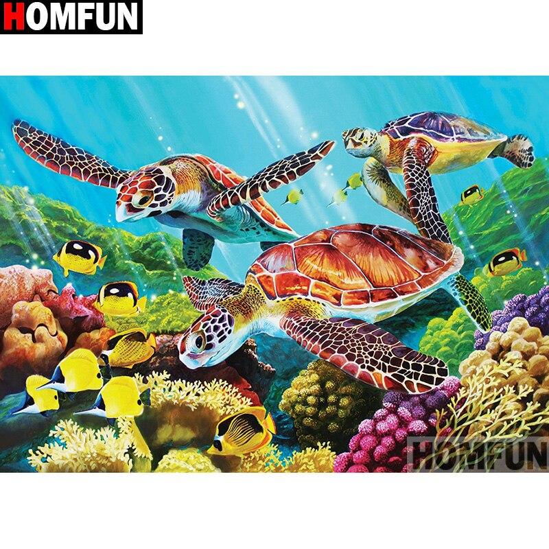 """HOMFUN taladro cuadrado/redondo completo 5D DIY pintura de diamante """"pez tortuga"""" 3D bordado punto de cruz 5D decoración del hogar A13475"""