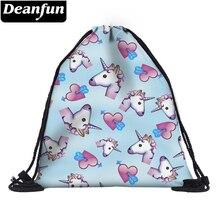Deanfun impressão 3d unicórnio cordão sacos de ombro bonito presente para crianças escola organizador 60085