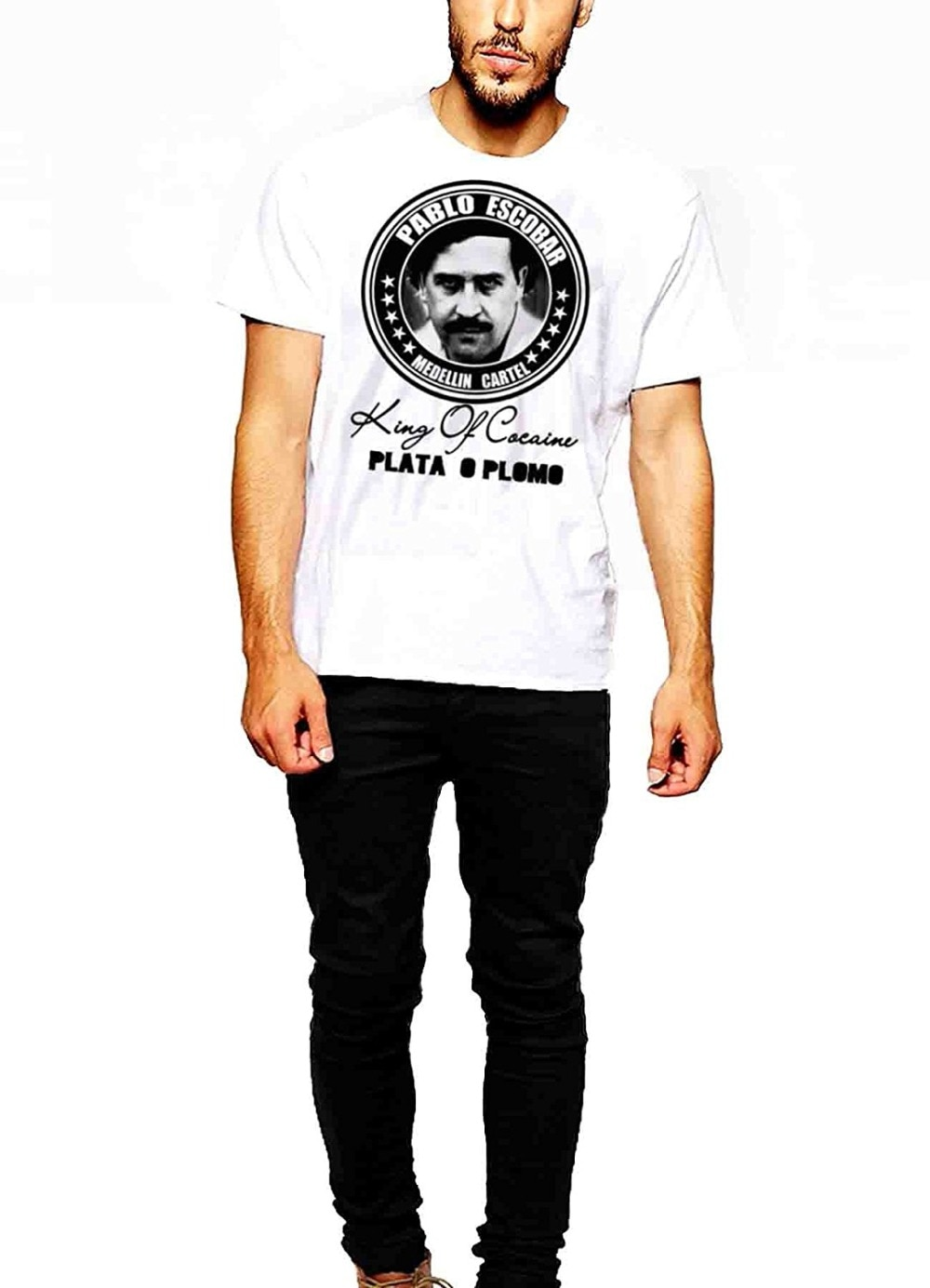 2019 nueva camiseta de verano para hombre, camiseta de Escobar El Patrol Del Cartel de Medellín, Camiseta de algodón Plomo King Of Coke