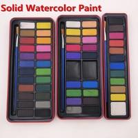 12/18/24Colors Professional Solid Watercolor Paints Paint Box with Paintbrush Bright Color Portable Sketch Color Art Tool