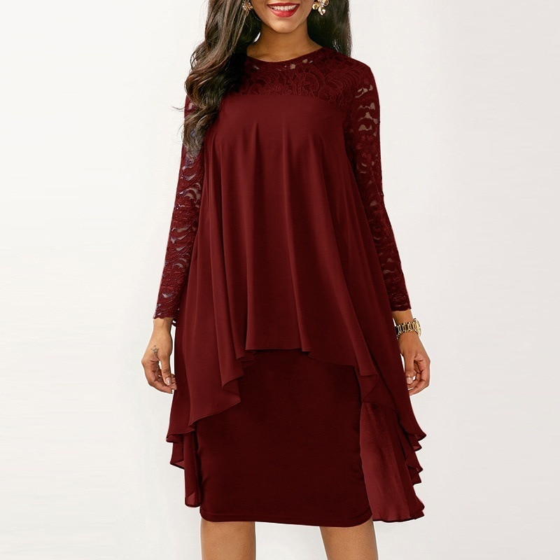 ¡Novedad de otoño 2018! vestidos de fiesta para mujer, vestido Casual de encaje de manga larga con cuello redondo, vestido MIDI entramado, vestido Sexy de moda de talla grande 5xl