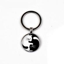 Mode noir blanc chat cristal verre porte-clés hommes femmes pendentif bijoux porte porte-clés dôme charme voiture anneau ami cadeau préféré