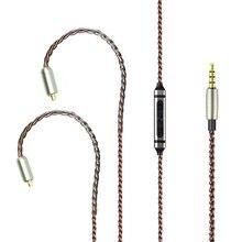 FAAEAL-câble de mise à niveau des écouteurs, 1.2M de haute qualité avec micro MMCX/2 prises pour SE215 315 425/pour KZ ZST/TFZ/IE80 avec micro