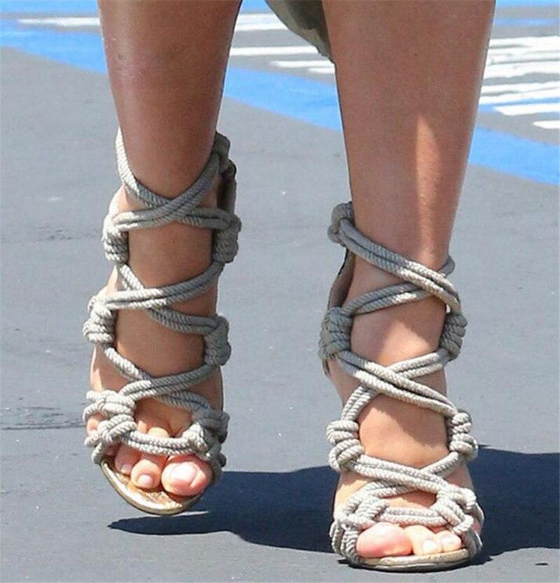Sestito 2018 mujer Sexy cuerda-atado zapatps de tacón con cubierta de verano sandalias de mujer recortes cremallera zapatos de tacón alto Zapatos de vestir