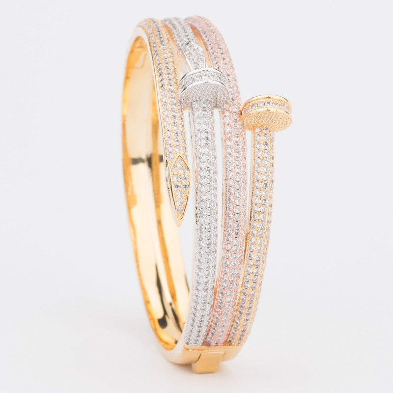 Venda quente moda primeiro jóias coreano tendência joker simples zircão duplo banda pulseira com unhas