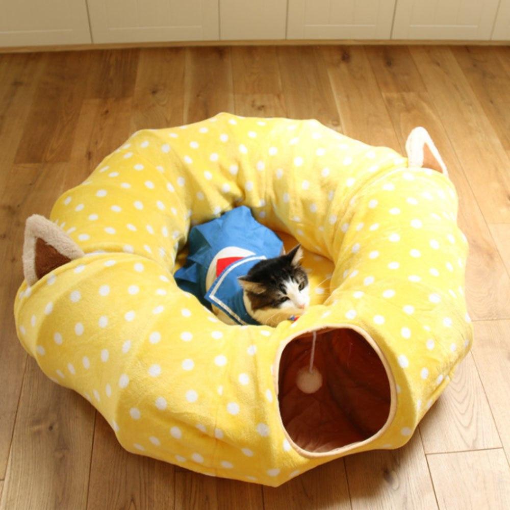 Túnel de juguete para gatos, túnel divertido para mascotas, plegable, a granel, pequeños juguetes para mascotas, conejo, Navidad, túnel para mascotas, camas para gatos, casa y dormir con pelota