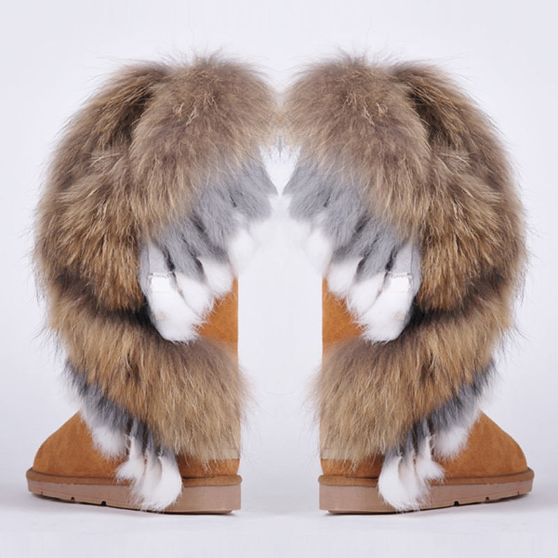 RUIYEE ladies snow boots fashion leather large size fox fur rabbit hair stitching 2018 new womens