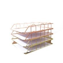 Archivador de escritorio de oro rosa, caja de archivo Metl electrochapada, estante de datos, archivador de documentos, Bar, estantes de almacenamiento, organizador de oficina