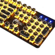 Gaming Backlit Mechanical Retro Punk Style Circle Round Key Cap Keyboard Letter Alphabet Glowing Illuminated 104 Keys USB Wired