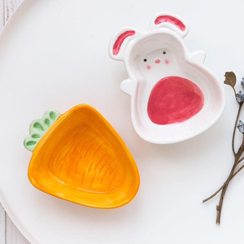 Cuenco de cerámica para niños con forma de zanahoria y conejo de dibujos animados