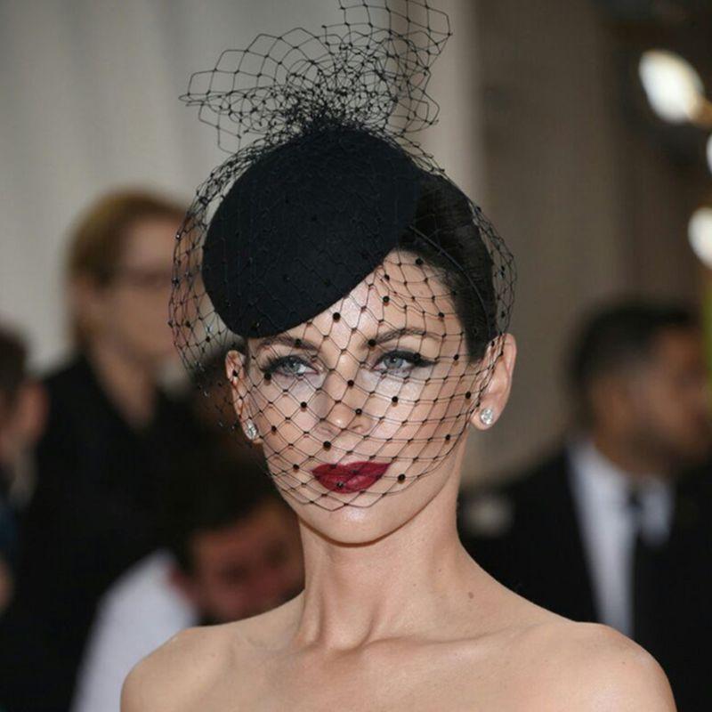 Женская фетровая шляпа, топ из сетчатой ткани, маленькая плюшевая вуаль с волнистыми точками, украшения для волос, свадьбы, коктейльный головной убор, аксессуары для волос