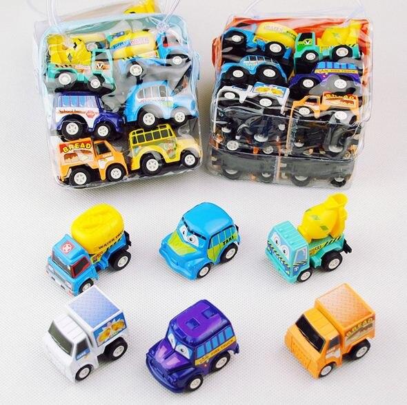 6 unids/lote Multicolor de dibujos animados de plástico Mini atrás niño juguetes de modelo de coche de juguete educativo para los niños