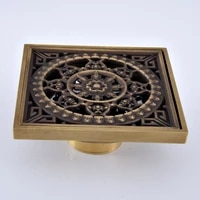 antique brass vintage carved flower pattern bathroom shower drain 4 square floor drain waste grates bathroom accessory mhr067