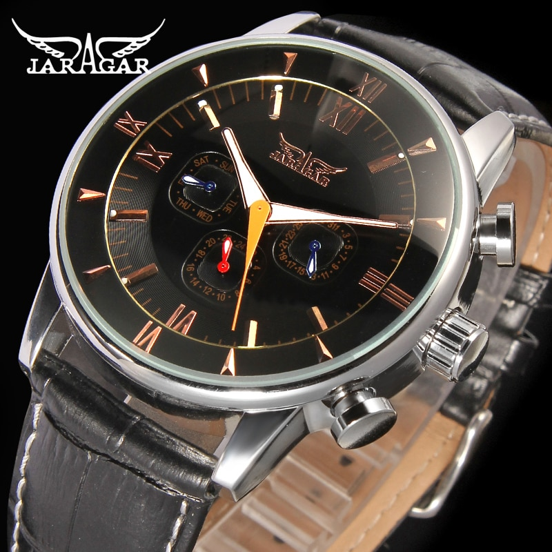 Jargar  High-end 24 Hours Clock Male Gift For Businessman With Genuine Leather Strap Alloy CaseJAG6901M3S1