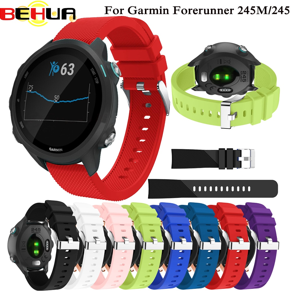 Sports Soft Silicone Replacement Watch Band Strap for Garmin Forerunner 245 245M Smart watch Bracelet 20mm Wearable accessories