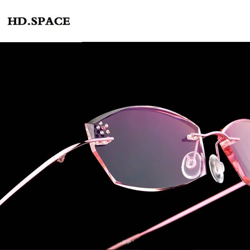 Alta clara anti reflexivo strass óculos de leitura feminino titânio óculos de corte diamante sem aro presbiopia eyewear