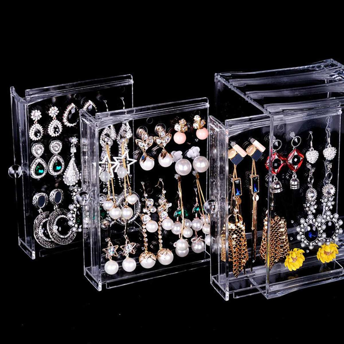 Caja de almacenamiento transparente para pendientes, soporte organizador para pendientes, soporte para pernos con cajón para organización de joyas, caja de anillos de acrílico