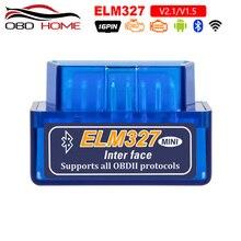 Mini ELM327 Scanner de voiture, Interface Bluetooth V2.1, outil de Diagnostic de couple, fonctionne avec Android Elm 327, prise OBD2/OBD2