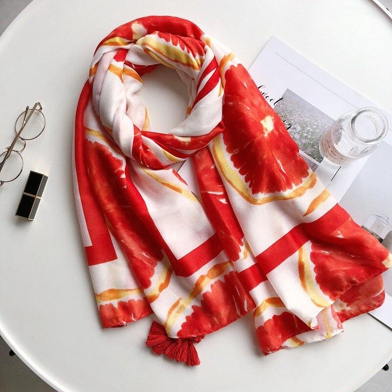 2019 أحدث النساء بوميلو طباعة شرابة الأوشحة شالات طويلة القطن أومبير الفاكهة شرابة الشاطئ الحجاب الخمار التفاف 10 قطعة/الوحدة