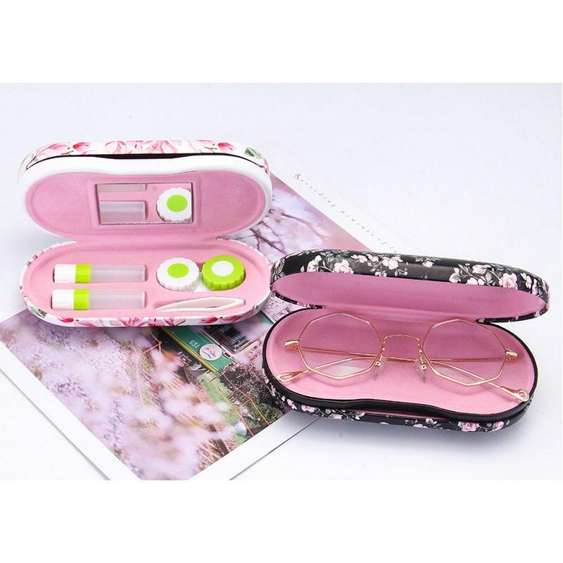 Caja de gafas China 2018, caja de gafas con impresión digital manual, lentes de contacto, caja de lentes de contacto, caja para pupila con doble uso