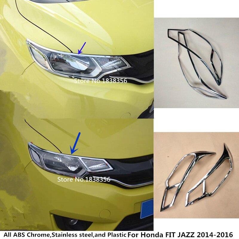 Hot Sale For Honda FIT JAZZ 2014 2015 2016 Car Styling Body Front Head Light Lamp Hood Molding Frame ABS Chrome Trim Panel 2pcs