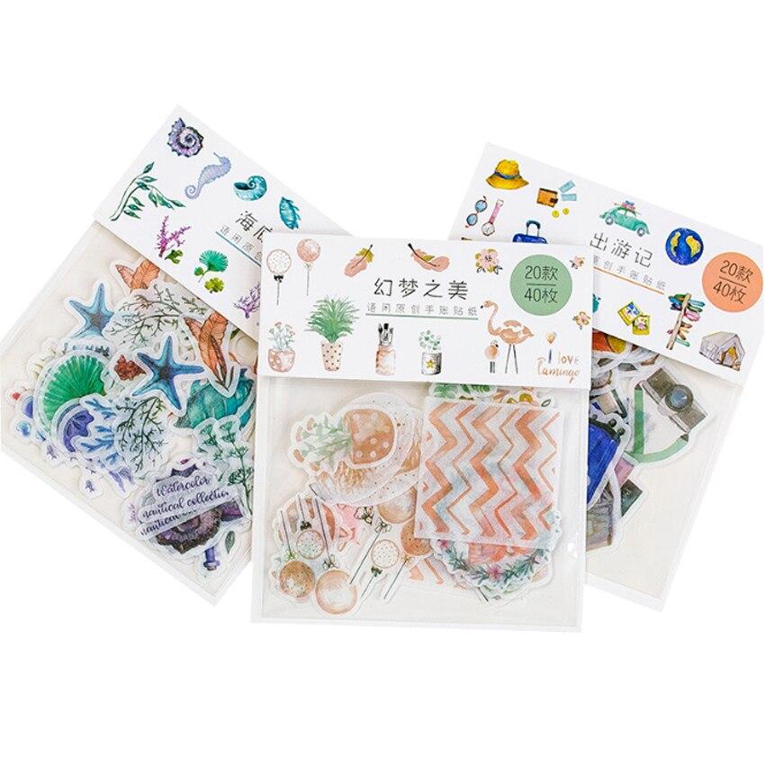 40 unids/lote serie de Mini papel adhesivo de ensueño colorido álbum de...
