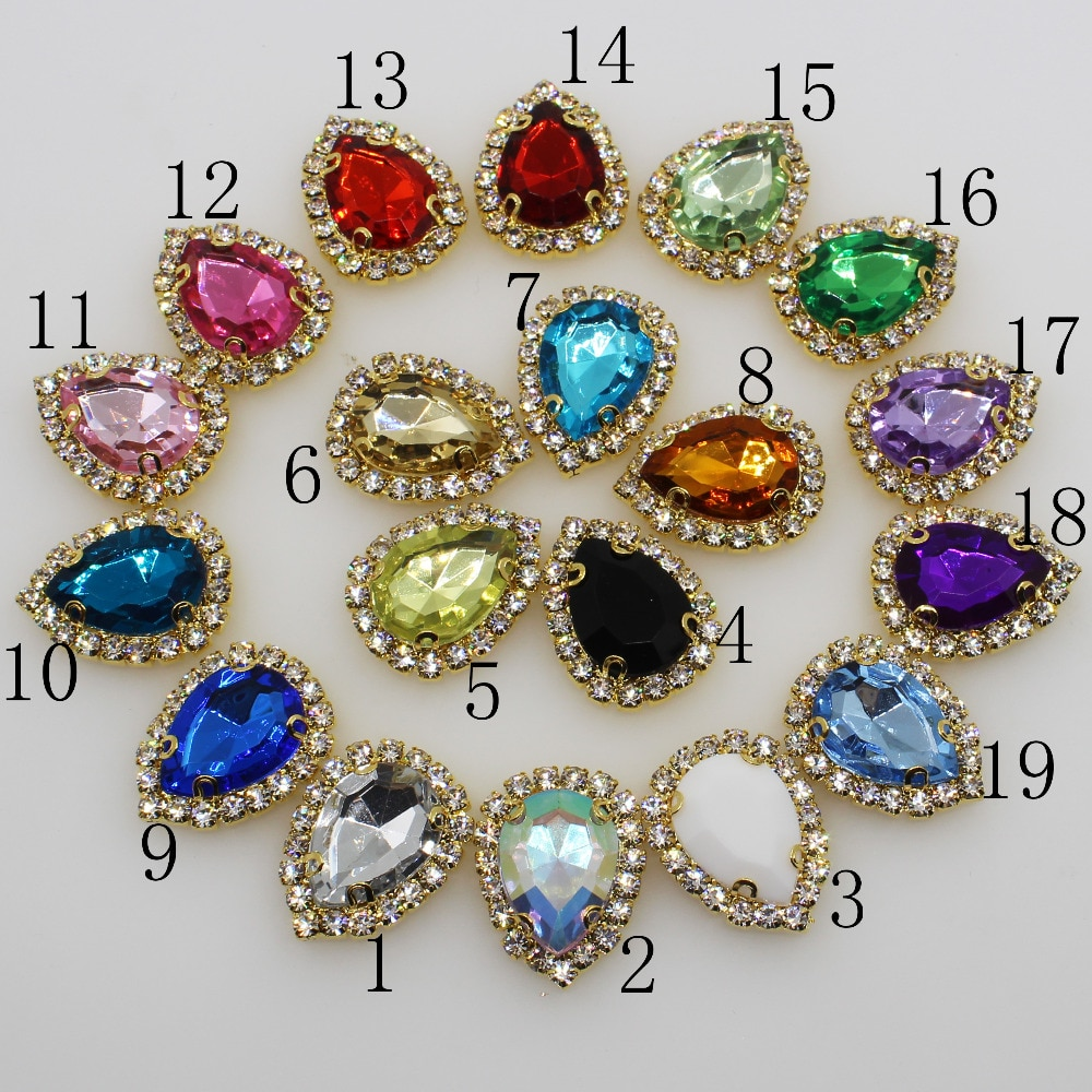 Nuevos 10 botones de diamantes de imitación artesanías de boda de 20*25mm gota de agua de 4 agujeros de oro accesorios de ropa de costura DIY