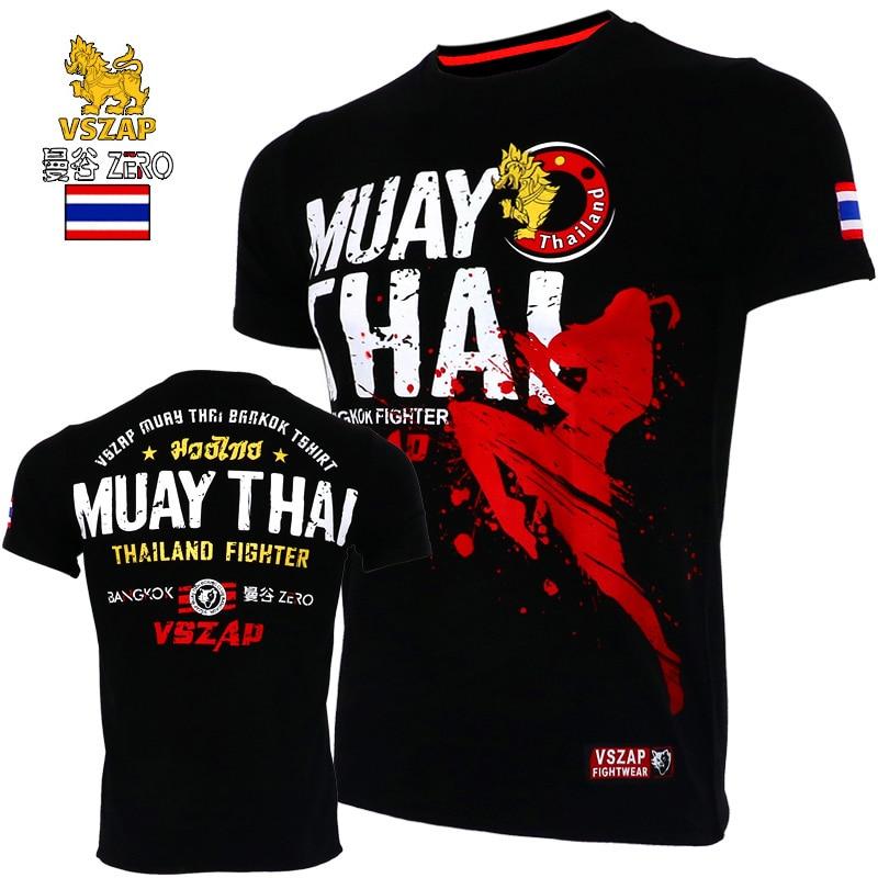 VSZAP-تي شيرت قطني بأكمام قصيرة ، ملابس قتالية muay Thai mma ، قميص كيك بوكسينغ