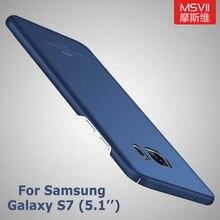 Samsung Galaxy S7 kılıfları kapak Msvii Coque Samsung S7 kılıf S 7 ince sert PC fırçalayın kapak için samsung Galaxy S7 kenar durumlarda