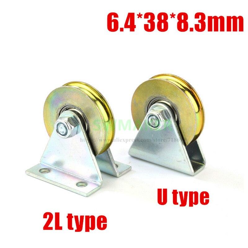 1 шт. 6,4*38*8,3 мм с треугольным кронштейном/L кронштейном, u-рифленое колесо, подшипник троса шкив/кран/направляющее колесо, с основанием