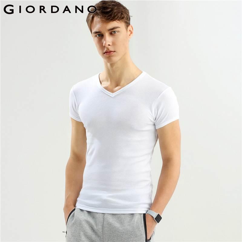 Giordano Men Tshirt Men 2-pack Short Sleeves Tee V-neck T Shirt Men Top Brand Clothing Cotton Tee Shirt Homme Solid Color Tshirt