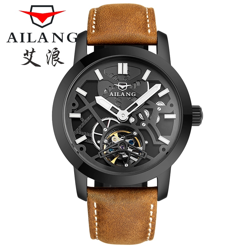 AILANG Men Watch Mechanical Tourbillon Luxury Fashion Brand Leather Male Sport Watches Men Automatic Watch Relogio Masculino