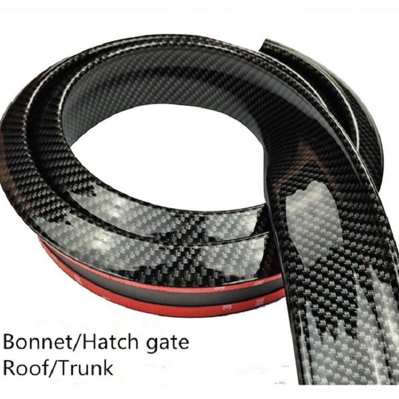 Alerón trasero Universal de 1,5 M para coche, alerones traseros de fibra de carbono, alerones para el techo, alerones para el maletero, pegatinas 3D, Kit de molduras para el cuerpo de goma, accesorios para automóviles