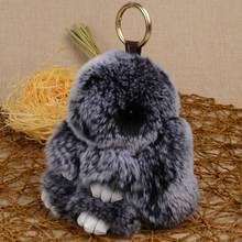 LFPU genuine Bunny Pendant Keychain Real Rex Rabbit Fur Keychain Fluffy Toy Doll Bag Car Charm Key R