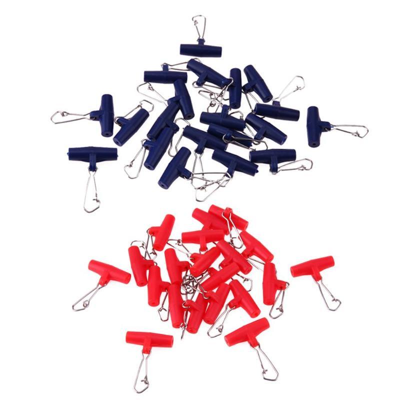 20 шт., грузило, слайдер на молнии, рыболовные Вертлюги, рыболовная леска, защелкивающийся крючок, Соединительный терминал, поворотный, для рыболовных крючков с синим красным
