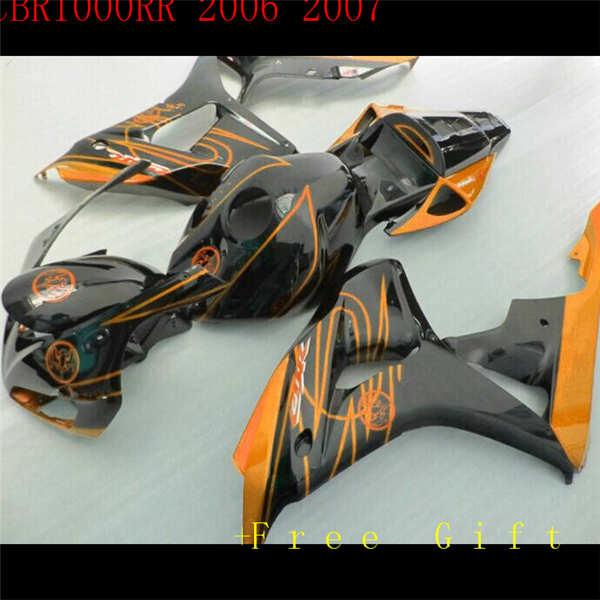 طقم انسيابية كامل للدراجات النارية ، بلاستيك ABS ، برتقالي ، CBR1000RR 06 07 1000RR 2006 2007 ، برتقالي ، أحمر وأبيض