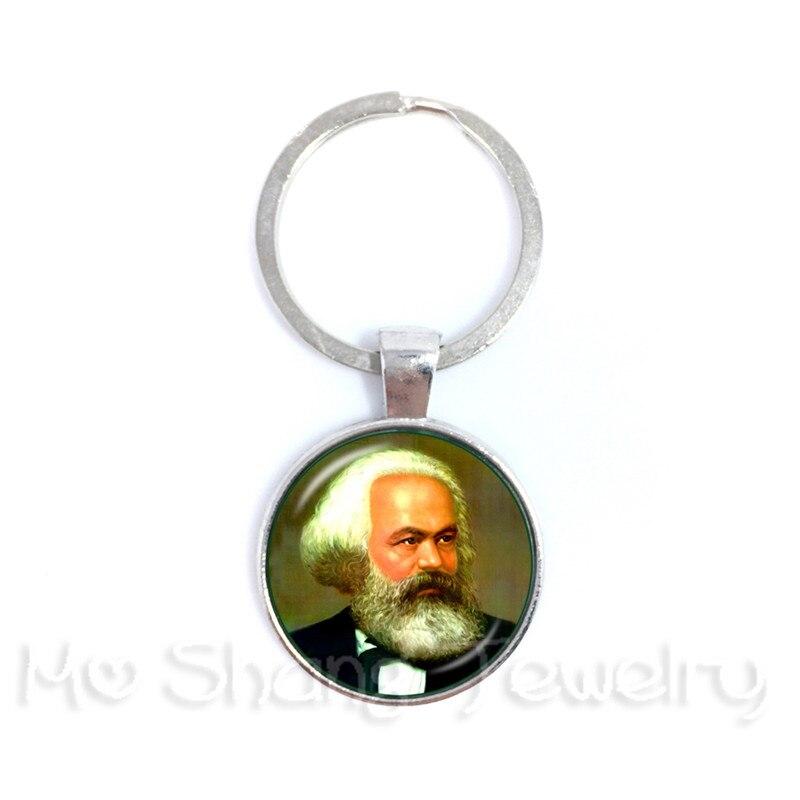 Karl Marx Philosopher 25 MM Keychain Socialism Marxism Glass Cabochon  Keyring Gift For Souvenir