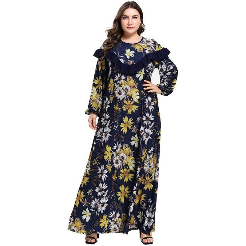 Женская мусульманская одежда Abayas, модное платье-Кафтан с цветочным принтом, платье большого размера 4XL