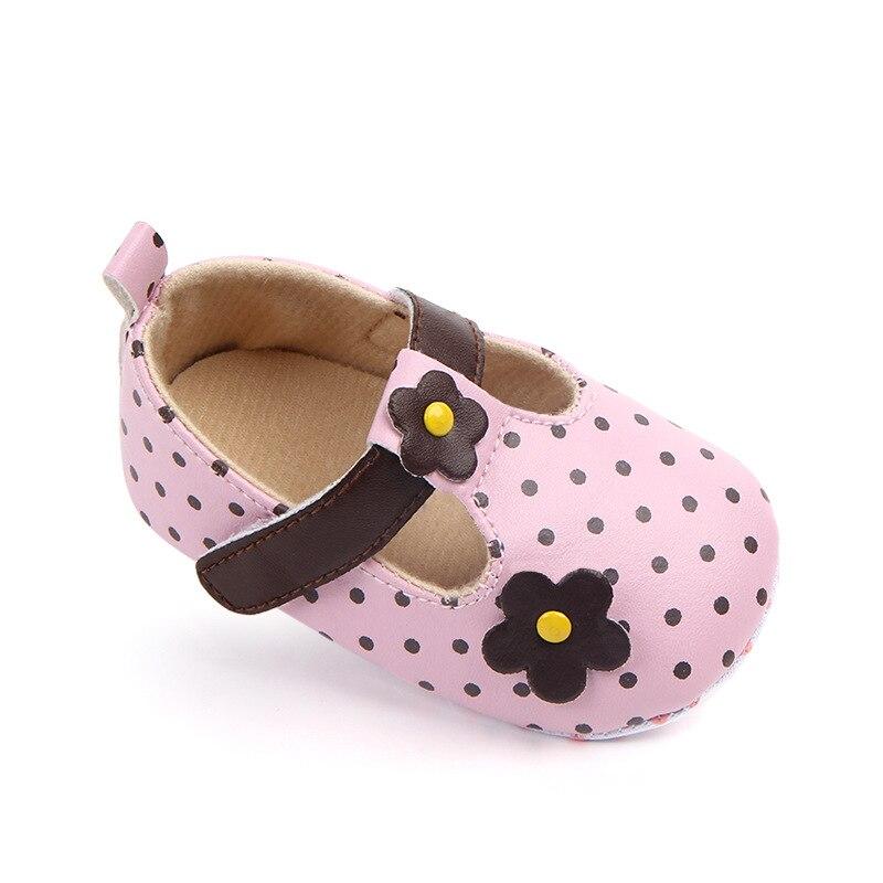 Recién Nacido bebé niña zapatos de cuero de la PU de la princesa lunares con flores suave suela infantil poco chico Anti-slip bendición zapatos, zapatos de bautismo de niño, Zapatos Niño, Zapatos Niño, zapatos de