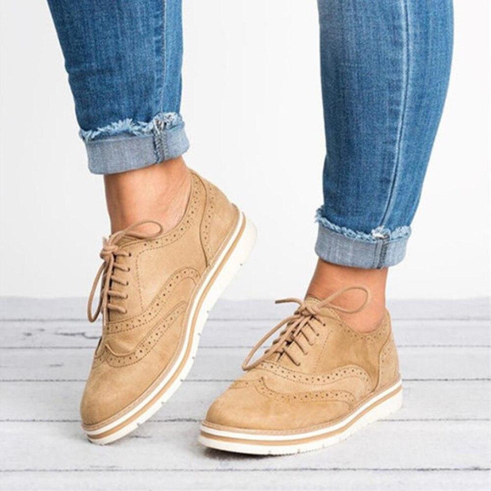 Zapatos de plataforma hueca y plana de talla grande 35-43 para mujer, zapatos Oxford estilo británico para mujer, zapatos con cordones para mujer
