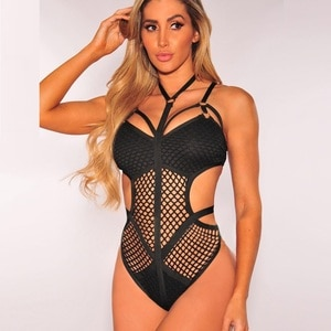 OULING Retro Vintage One Piece Pin Up Mesh Hollow out Monokinis Swimsuit 2018 Sexy Swimwear Women Bathing Suit Halter