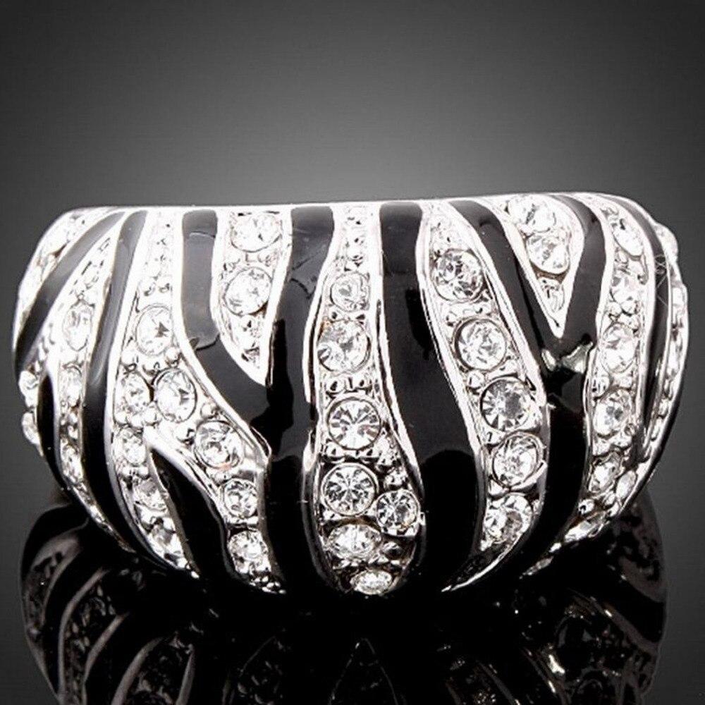 Piedras brillantes de moda Epoxy Zebra declaración anillo mujeres joyería en venta