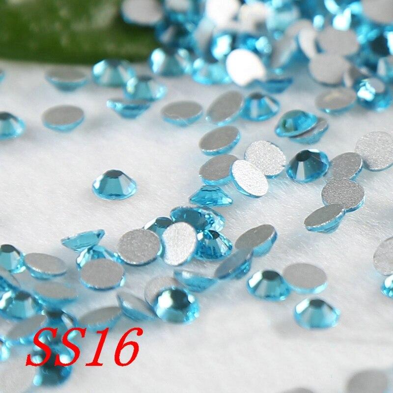 Cristal para decoración de uñas, apliques de piedras para vestidos, Strass, SS16, 1440 unids/bolsa, azul Lago, diamantes de imitación sin fijación térmica