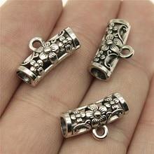 WYSIWYG 12 pièces 19x10x7mm perles de Bail pour la fabrication de bijoux bricolage Antique couleur argent perles de fleurs Bails breloques