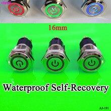 Cltgxdd interrupteur à bouton-pression en métal   1 pièces, étanche, auto-récupération instantanée 16mm 12V avec interrupteur à symbole