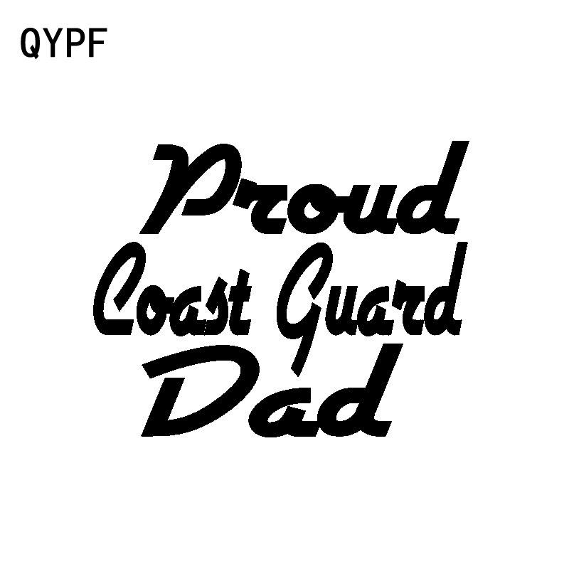 QYPF-autocollants de fenêtre de voiture   Autocollants de fenêtre de voiture, en vinyle, fier COAST GUARD DAD, 16.9CM x 13.2CM, CM