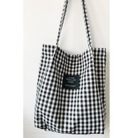 Модная прочная Женская Студенческая сумка на одно плечо из хлопка и льна, сумка-тоут для покупок в клетку, женские льняные холщовые сумки дл...