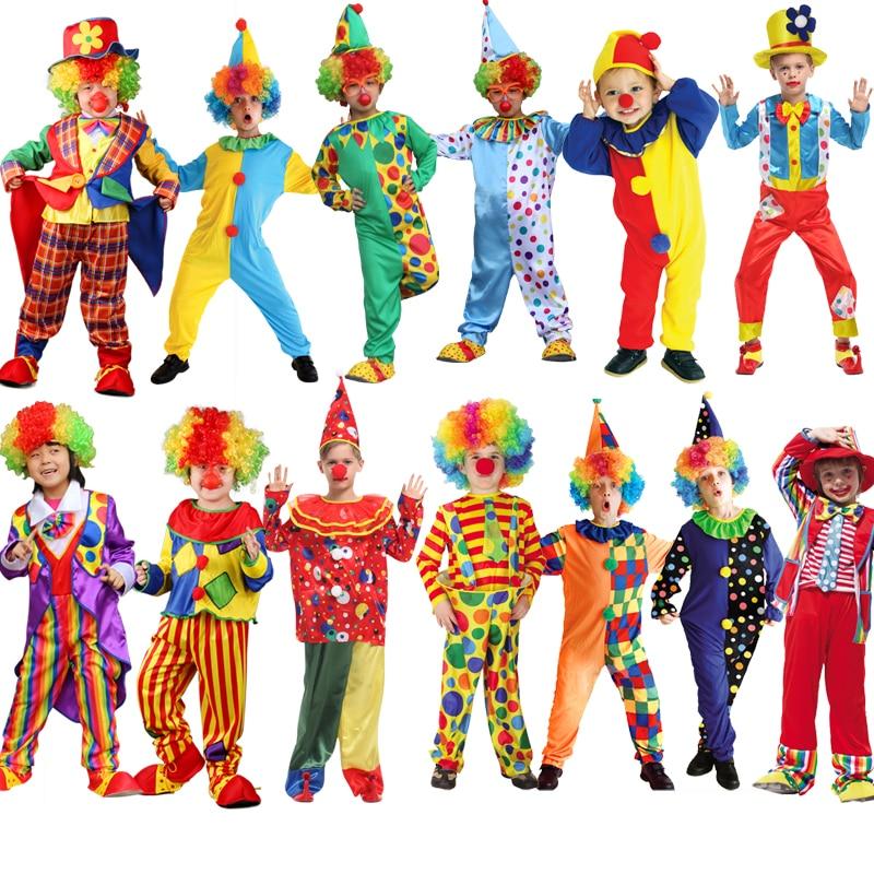 Enfants cirque Halloween Clown Cosplay Costumes vilain arlequin fantaisie Fantasia Infantil garçon fille carnaval fête fournitures pourim