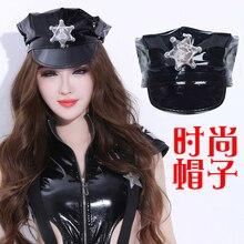 new sexy fashion nightclub bar singer performance black hat uniform pu leather cap
